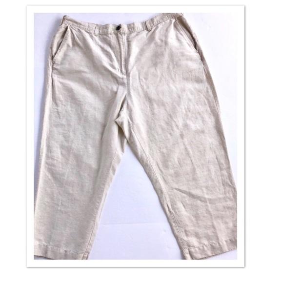 0085ef5d1b105 Lands  End Pants - Women s Lands End Linen Crop Pants Sz 20W Khaki